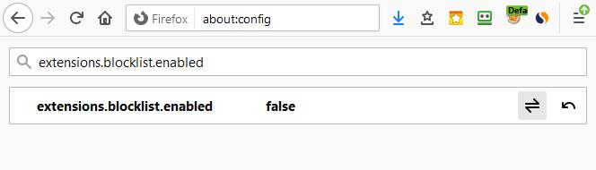 Блокировка расширения в браузере Mozilla Firefox